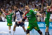 Bartosz Jurecki (SC Magdeburg) bejubelt einen Treffer